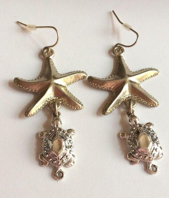 Gold Silver Sea Life Earrings Plated Starfish Turtle Pierced Dangle Island Beach