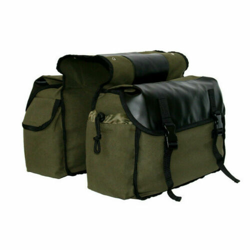 Bike Double Panniers Bag Canvas Bicycle Rear Seat Storage Trunk Bag Travel Khaki