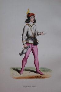 100% De Qualité Gravure-valet Anglais Du Regne D'edouard Iv-costumes Moyen Age 1847- Print