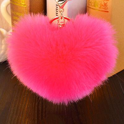 Soft Rabbit Heart Fluffy Fur Pearl Ball Pom Car Pendant Handbag Key Chain Ring