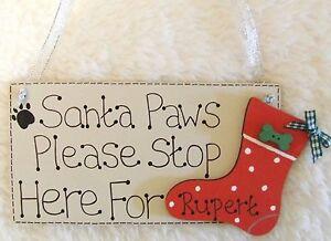 Handmade-personnalise-santa-stop-pet-chien-noel-rouge-stocking-plaque-signe-cadeau