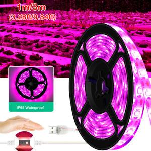 USB LED Grow Light Strip Full Spectrum Lamp IP65 For Indoor Plant Veg Flower US