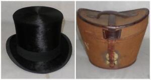 4a682144018a7 Antique Tress   Co Black Fur Top Hat Original Canvas Box  Tamura ...