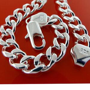 Mens-Silver-Bracelet-Bangle-Real-925-Sterling-S-F-Solid-Heavy-Curb-Link-Design