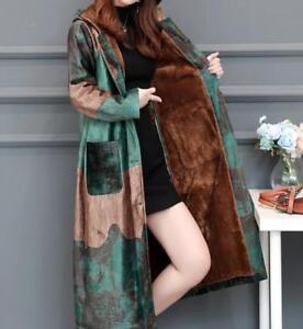 etnico a con lungo metà velluto Cappotto floreale di Cappotto donna caldo invernale Cappotto da cappuccio Cappotto 8q40wZAY