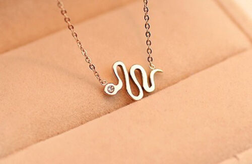 Adorable Snake 14K Rose GP Necklace//Hypoallergenic Stainless Steel