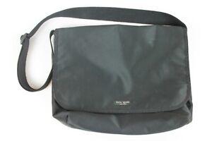 Vintage-Kate-Spade-Black-Nylon-Shoulder-Messenger-Bag-w-Adjustable-Canvas-Strap