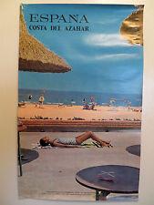 Vtg Travel Poster Original Espana Spain Costa del Azahar Woman Tanning by Beach