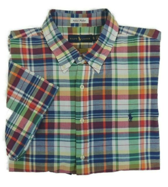 agenzia Ritenere Completamente asciutto  Polo Ralph Lauren Woven Indian Madras Plaid Short Sleeve Shirt 4xb for sale  online | eBay