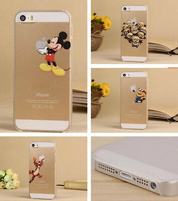 Hot lovely Clear Cartoon Back Skin case cover for Apple iphone 4 4S 5 5S 5C