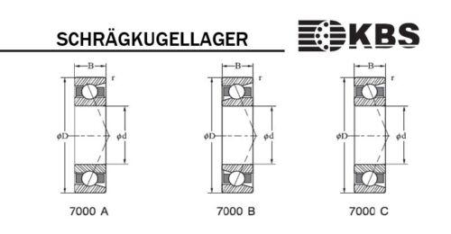 1 KBS Schrägkugellager 7209 B 45 x 85 x 19 mm