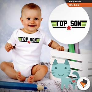 3-6 Months Baby Grows Top Gun Son Christmas Baby Shower Gifts Boys Girls Sizes