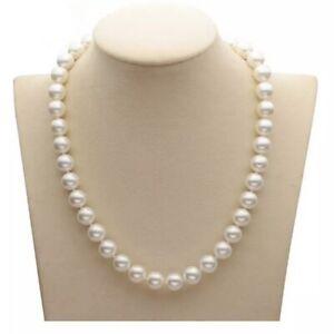Kette-aus-perfekt-runden-weissen-10mm-Muschelkernperlen-Perlen-mit-Steckverschluss