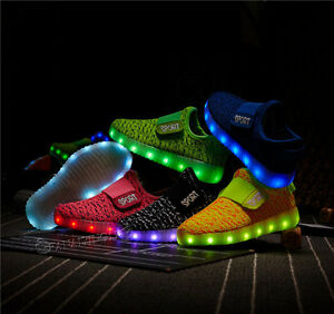 Details About Boy Girl 7 Led Colors Usb Charging Light Up Luminous Sneakers Kids Casual Shoes