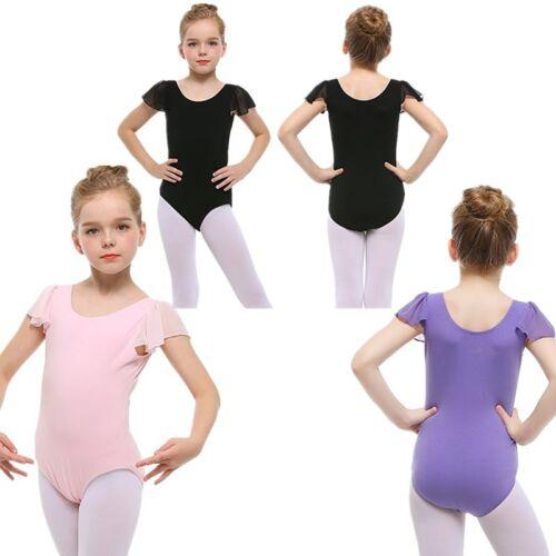 Kids Girls Ballet Dance Dress Short Sleeve Gymnastics Leotard Ballerina Bodysuit