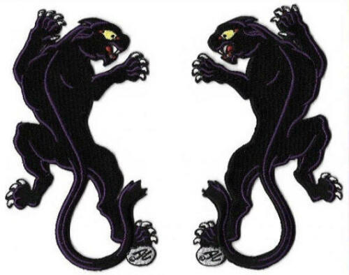 "Set of 2 Black Panther Embroidered Iron On Patches, Art by Dan Collins, 5.5""T"