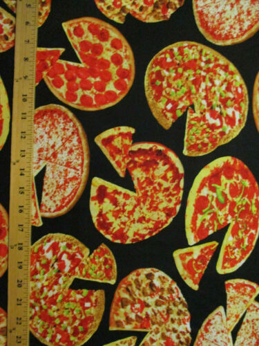 Pizza Pies Slices Snacks Food Cotton Fabric FQ
