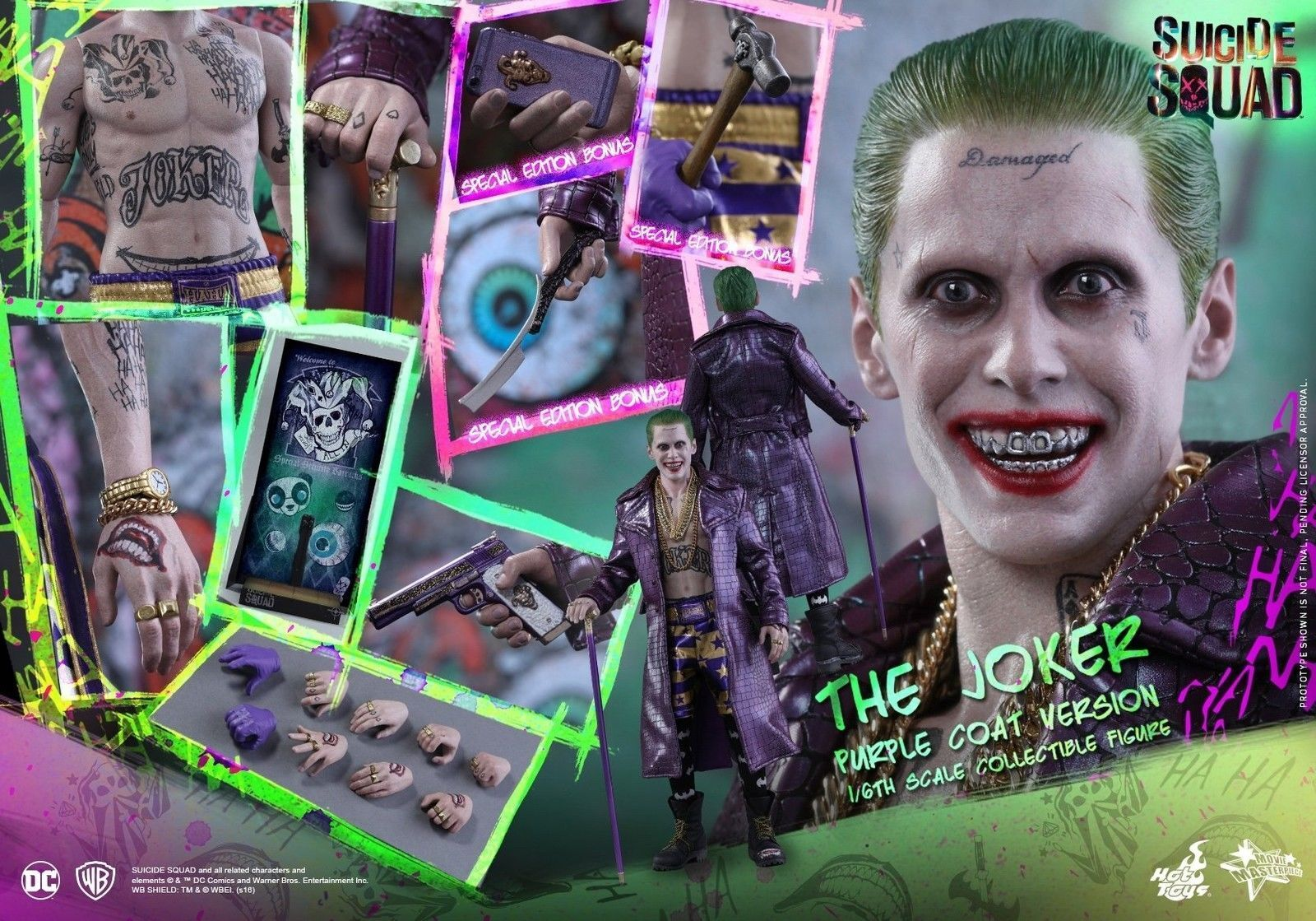 HOT TOYS MMS382 DC SUICIDE SQUAD  THE JOKER lila COAT VER. 1/6 FIGURE SPECIAL