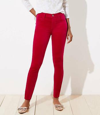 8 NWT Magenta Kiss Pink Ann Taylor Loft Women/'s Velvet Skinny Pants Size 29