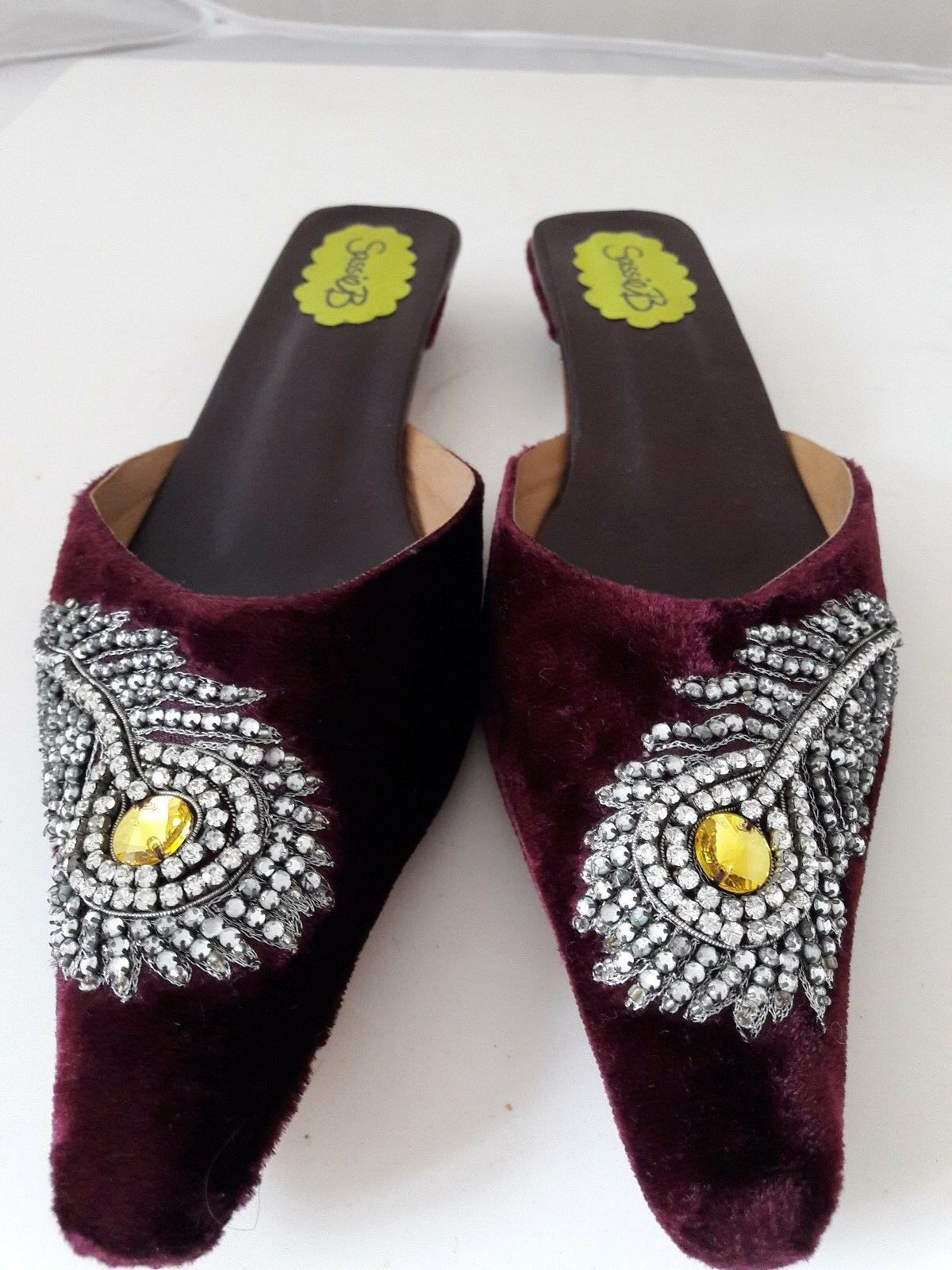 PURPLE M VELVET MULES with crystals  - Größe M PURPLE e01b69