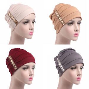 Donne-Cappello-di-Cotone-Cancro-Chemio-Berretto-Largo-Turbante-Hijab-Scialle