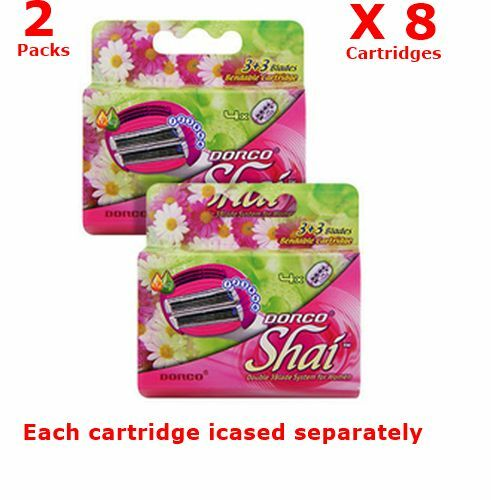 DORCO SHAI Women Razor 3+3  6 Blade System  2 packs 8 Refill Cartridges