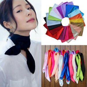 Plain-Soft-Satin-Silk-Large-Square-Head-Neck-Scarf-Bandana-Wrap-Shiny-90-cm