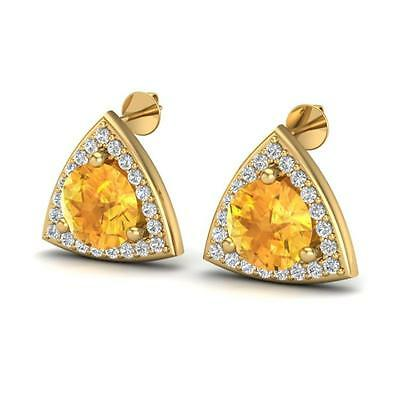 5004. 3 CTW Citrine & Micro Pave Halo VS/SI Diamond Stud Earring 18K Gold ... Lot 5004