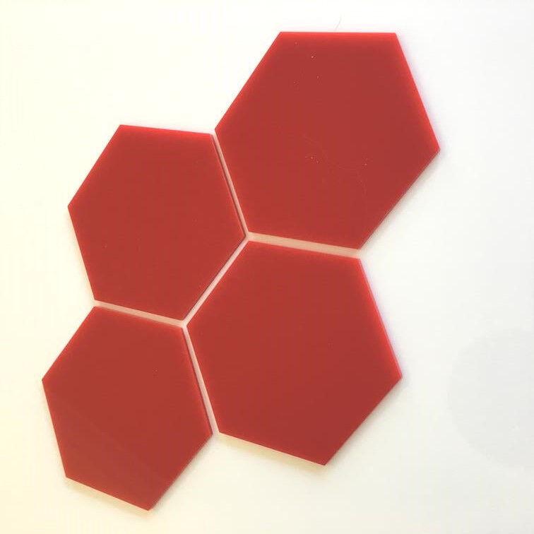 Hexagonal Acrylic Wall Tiles - rot