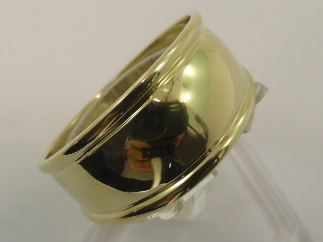 9ct Solid Yellow gold Wide Polished Curved Dress Ring size O½