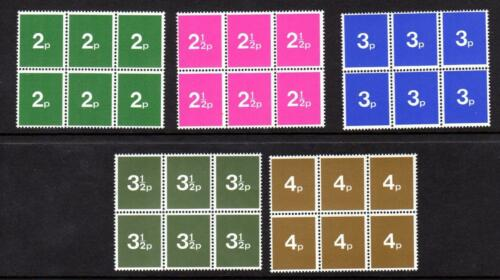 Early 1970s GB Post Office Training Stamps Set of 5 Blocks of Six MNH UMM Mint