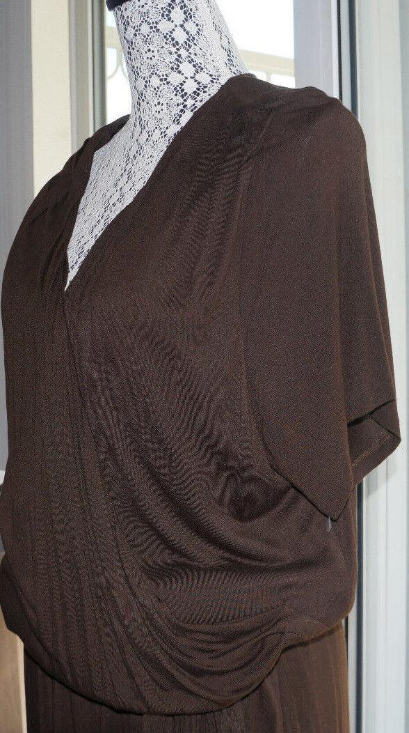 Ralph Lauren Brown Wrap Dress Women 3XL Plus Size Short Sleeve Belt Stretch  185