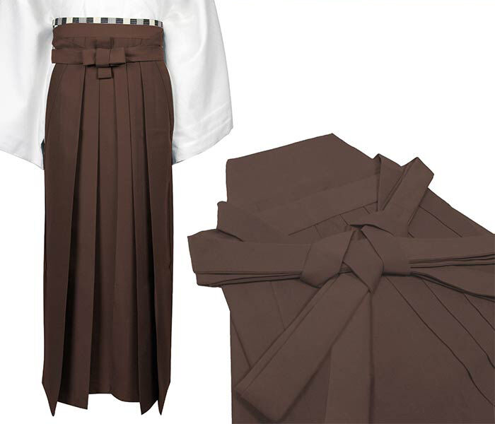 Japanese Traditional Kimono Samurai HAKAMA Pants Polyester Brown from JAPAN