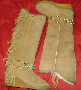Koolaburra-Boho-Chestnut-Sheepskin-Shearling-Fringe-Wedge-Winter-Tall-Boots-7