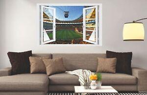 Wandtattoo-Fenster-3D-Optik-Wandsticker-Aufkleber-Deko-Bild-Fussball-Stadion-II