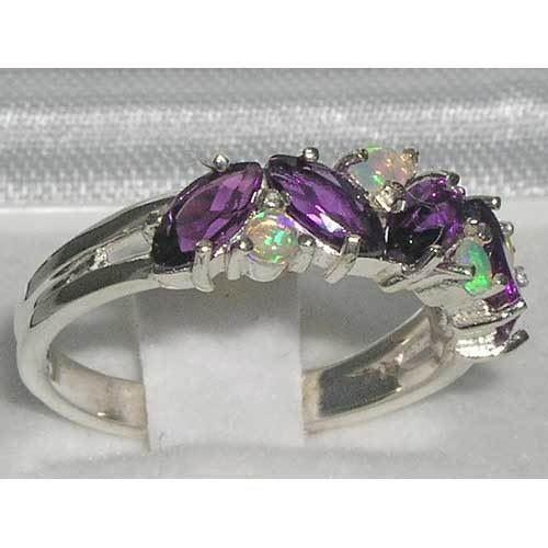 Ladies Solid 925 Sterling Silver Natural Amethyst /& Fiery Opal Eternity Ring