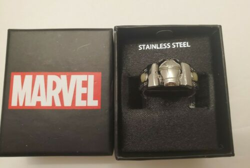 Details about  /Marvel Iron Man Face Glow in The Dark Eyes 3D Stainless Steel Ring