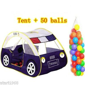 Image is loading Child-baby-kids-play-tent-large-police-car-  sc 1 st  eBay & Child baby kids play tent large police car toy +50 balls game house ...