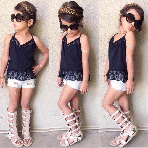 Kid Toddler Baby Girl Outfit Clothes Lace Shirt Tops+Demin Shorts Pants 2PCS Set