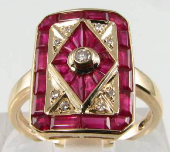 LARGE 9K 9CT gold INDIAN RUBY  DIAMOND  ART DECO INS SHIELD RING FREE RESIZE 999