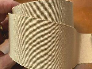 "Vintage Petersham Cotton Trim Millinery 2"" Viscose Latte Ribbon 1yd France"