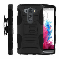 For Lg G4 Pro Protective Clip Heavy Duty Black Case W/ Built-in Kickstand