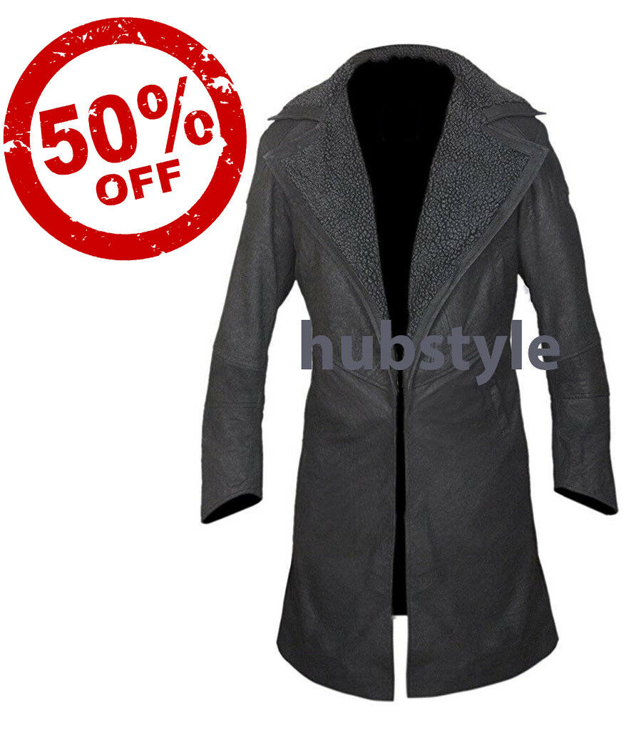 Stonewashed Genuine Leather or Faux Blade Runner 2049 Faux Fur Open Front Coat