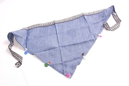 S436 Fantastic Girls Denim Blue Triangle Head Scarf w Sequins Beads/&Embroidery