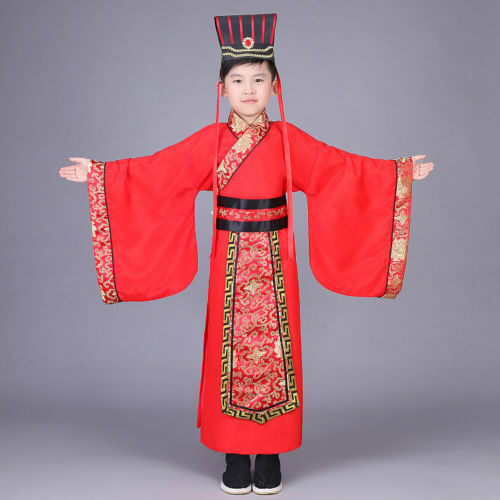 Chinese Boys Han Clothing Emperor Show Cosplay Suit Robe Costume with Hat