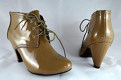 Zapatos mujer botines botas tacones altos Caqui Zapatos de cordón NUEVO A.603