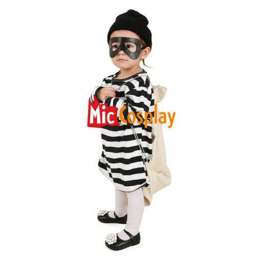 Kids Burglar Robber Halloween Costume Hat Mask Bag