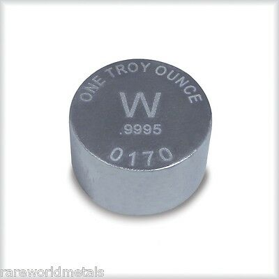 Tungsten metal ingot - one troy ounce - .9995 bullion -- RWMM -- 1 oz