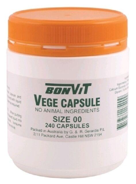 3 units x Bonvit Empty Vegetarian Capsules Size ' 00 ' 240 Vege Caps (720 Total)
