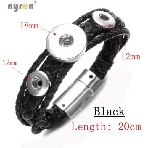 Genuine Leather Snap Charms Bracelet 18mm snap button Jewelry For Snap Jewelry